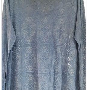 Cato Tops - V ~ Neck burn out shirt, blue, sz XL NWT